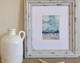 Abstract seascape watercolor, original artwork