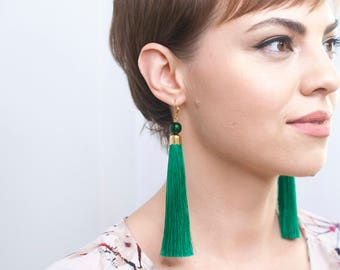 Unique Gift for Her \ Green Tassel Earrings Greenery Earrings Long Earrings Statement Earrings Birthday Gift Graduation Jewelry