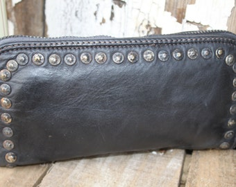 Black Studded Leather Wallet