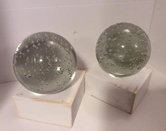 Pair of Bubble Effect Paper Weights Super Heavy