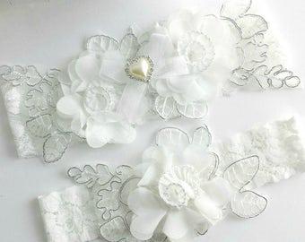 Wedding Garter, White, Silver, Pearl, Bridal Garter, Garter Belt Set, Applique Garter, Pearl Garter, Custom Flower Lace Garter, Hand Sewn
