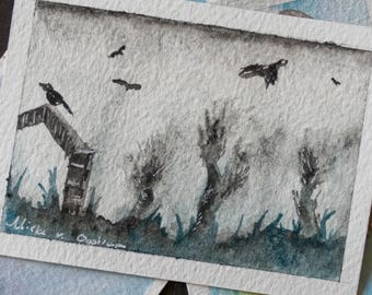 A time for crows ACEO - Original watercolor