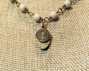 Fossil Coral Rosary Chain Choker with 3 Saint Charms