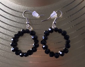 Shiny Black Beaded Earrings