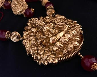 Gold Plated Laxmi Necklace