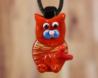 Cat Necklace, Kitty Cat Necklace, Kitty Necklace, Cat Pendant, Kitten Pendant, Glass Cat, Glass Kitten, Wearable Art, Cat Jewelry, Necklace