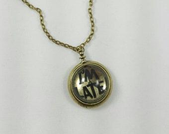 Alice in Wonderland, I'm Late Clock Necklace, White Rabbit Necklace, Alice in Wonderland Jewelry