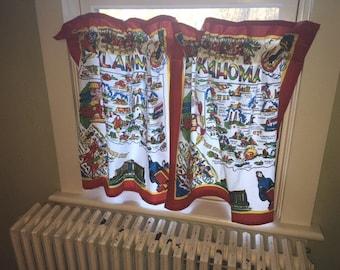 Pr Of Oklahoma Cafe Curtains From Retro Flour Sack Dishtowels, Vintage Camper  Curtains, Retro