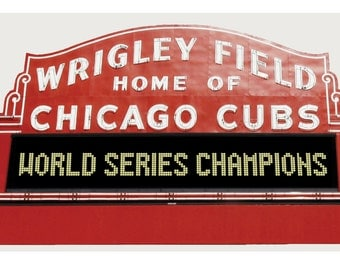 Wrigley Field Daytime Marquee Wall Mural Graphic With World Series  Champions.