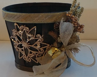 """Small Wooden Holiday Planter """"GOLDEN"""""""