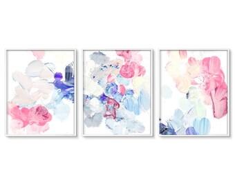 Abstract Painting, Wall Art Set, of 3, Triptych, Modern Art, Pastel Abstract Art, Abstract Prints, Printable Art, Modern Prints, Art, Decor