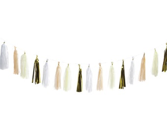 Tissue Tassel Garland (Peach, Cream, Gold, White)