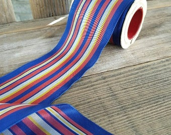 Ribbon on Spool - Striped Vintage Rayon – Approximately 9 Yards