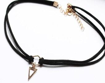 Black and Gold Triangle Charm Choker - Black Choker - Goth Choker - Black Boho Choker Urban Outfitters