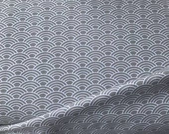 SALE!! Organic Cotton Jersey Wave Grey and White / Sold by the METRE / UK seller