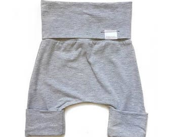 Grow with me Shorts [6-18 months] Bamboo | Heather Light Grey