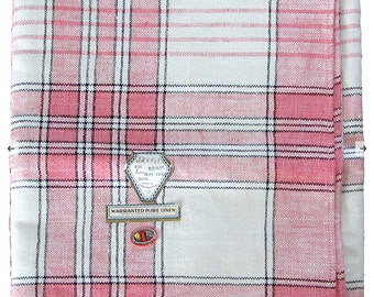 Vintage - Beautiful Pink and Black Plaid Linen Tablecloth and/or fabric piece