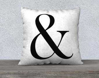 Ampersand Pillow Cover - Typography Throw Pillow, Accent Pillow, Home Decor, Wedding Gift, Engagement Present, Housewarming Gift