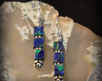 Azurite, Sterling Silver Bead, Sterling Silver Daisy Spacers, Earrings, Custom Jewelry