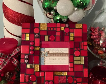 Sparkling Red & Gold Mosaic Picture Frame