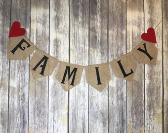 Burlap Family Banner, Family Photography Props, Burlap Banner, Family Banner with Hearts