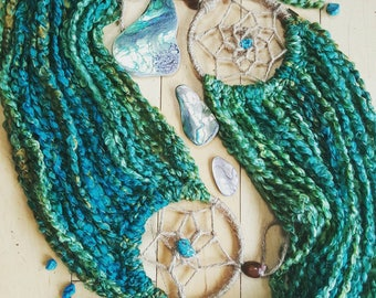 "Lotus Dreamcatchers made with California Handmade turquoise beads 4"" x 23"""