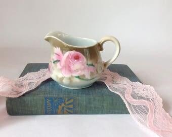 Antique Bavarian Porcelain Hand Painted Creamer
