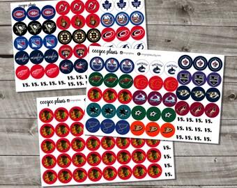 NHL Team Logo Planner Stickers | Hockey Planner Stickers | Hockey Icon Planer Stickers