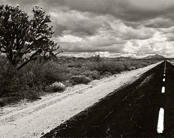 Infinite Road Joshua Tree Mojave Desert Black and White Fine Art Photography | Stone Sand | Clouds Photo Meager Road Trip