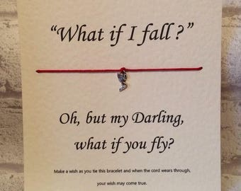What if I fall   Tibetan Silver Charm Wish Bracelet & Message Card    Handmade By Erin