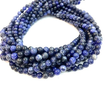 Natural Sodalite Beads 4mm 6mm 8mm 10mm 12mm Natural Blue Mala Beads Supplies 6mm 8mm Sodalite Beads Blue Gemstone Beads Navy Blue Beads