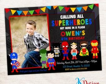 Superheroes Birthday Invitation, Photo Birthday Invitation, Superhero Invite