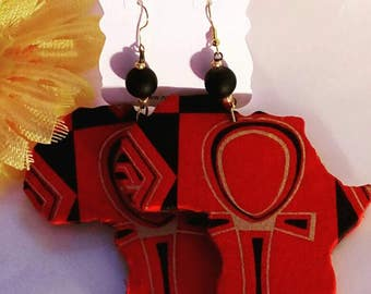 Africa wood with Ankh pattern Fabric overlay Earrings