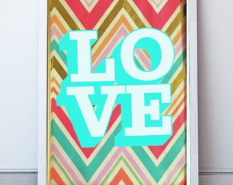 Love with chevron background