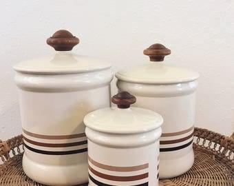 Vintage canister set / boho canister set / set of 3 vintage canisters / baking canister set / 1970s canister set