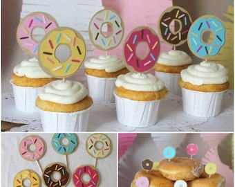 Donut Cupcake Toppers (12) custom
