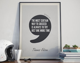 Thomas Edison Quote, Printable Art, Inspirational Print, Motivational Poster, Instant Download, Digital Download, Home Decor, Office Decor