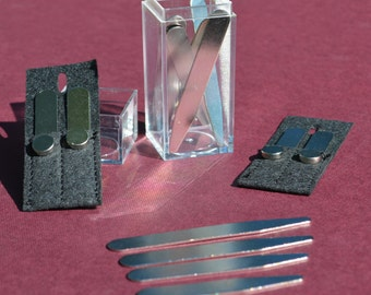 10 sets of metal COLLAR STAYS with MAGNETS, pouches & storage box (20 total) - 6 sizes available