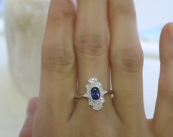 18K solid gold larger oval cut sapphire and diamond art deco ring