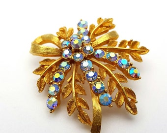 Incredible Aurora Borealis Rhinestone Flower Brooch Gold tone Vintage from the 50s Leaves Branches Holographic Wedding Boutonniere Boutineer