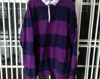 vintage Thatcher & Cross rugby jersey big stripe polo shirt Medium size