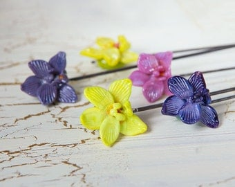 Lampwork beads Orchid. Glass flowers. Flowers lampwork. Orchid beads. Beads flowers. Tropical flower beads.