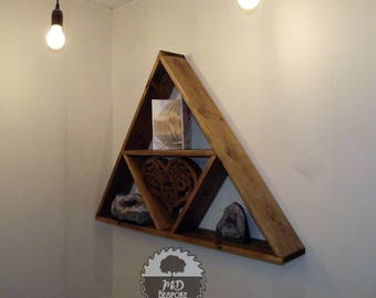 Wooden floating shelf - Wood Triangle Shelf - Reclaimed  - Triangle shelves - Geometric Triangle Shelf - Geometric Shelf - hallway