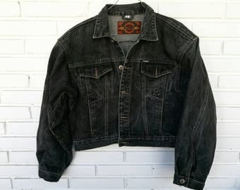 SUBWAY DENIM JACKET / / vintage clothing / / black denim / / vintage denim / / short / / subway / / vintage jacket