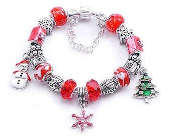 Christmas Bracelet - Snowflake Bracelet, Christmas Charm Bracelet, Snowman Bracelet, Christmas Jewelry, Christmas Jewlery, Holiday Jewelry