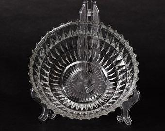 Pressed Glass Bowl with Diamond Pattern