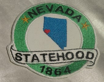 Embroidered Nevada State Pride Statehood NV Map Souvenir Patch Iron On Sew On USA
