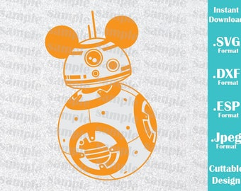 INSTANT DOWNLOAD SVG Disney Inspired BB8 Mickey Ears for Cutting Machines Svg, Esp, Dxf and Jpeg Format Cricut Silhouette