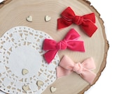 Valentines Velvet Ribbon Bows, Red Pink Peach Handtied Schoolgirl Hair Bows, Baby Girl Pigtail Bow