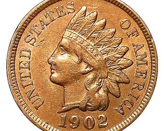 1902 Indian Head Cent / Penny - AU / BU - 3 1/2 Diamonds - Luster